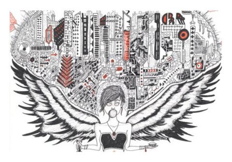 Wall Art, Urbanite Angel Wall Art  | Artist : Val-i-llustration, - PosterGully