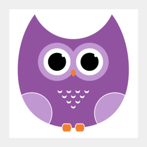 Purple Cute Owl Cartoon Square Art Prints PosterGully Specials