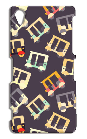 Auto rickshaw quirky pattern Sony Xperia Z2 Cases | Artist : Designerchennai