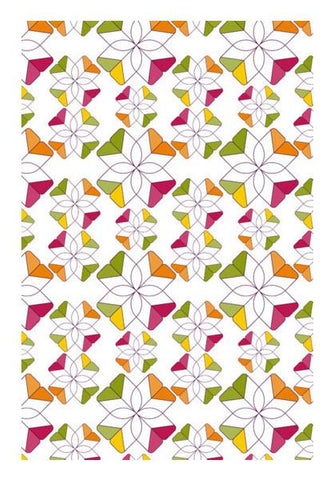 PosterGully Specials, Flowers Retro Shapes Geometric Pattern On Multicolor Wall Art | Artist : Designerchennai, - PosterGully