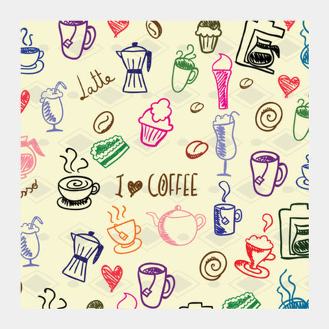 Square Art Prints, I Love Coffee Square Art | Artist: Pratyusha Subramaniam, - PosterGully