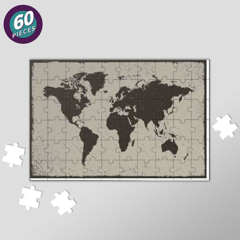 Deep Black Tropical World Map Jigsaw Puzzles | Artist : Inderpreet Singh