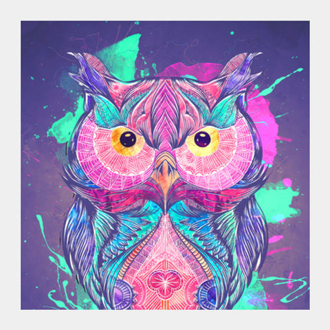 The night owl watercolour digital Square Art Prints | Artist : Cuboidesign