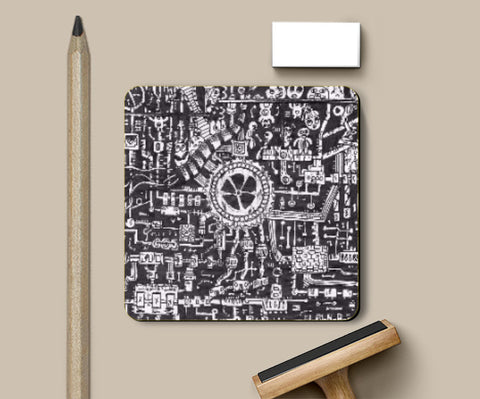 Coasters, Mechanical Doodle Coaster | Artist: Shireen Gadru, - PosterGully