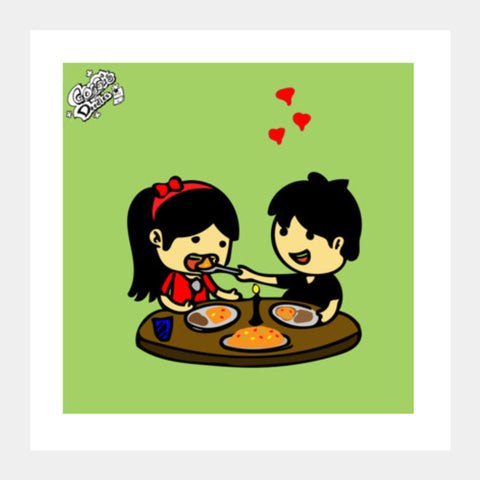 Square Art Prints, Showing Love at Candle Light Dinner..!!! Square Art Prints | Artist : Goggi's Doodles, - PosterGully