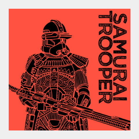 Samurai Trooper: Star Wars inspired original artwork, black, red, duotone, bold, bright, pop art, trendy graphic art, fan art, intricate, graphic poster, minimalist art, trending designs Square Art Prints | Artist : SREEJITH v
