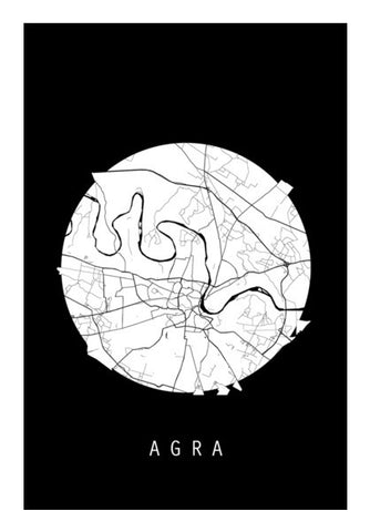 Agra Map, Black and White, India Map, World Map, Minimal Art, Poster, Wall Decor Wall Art | Artist : Shikhar Bhardwaj