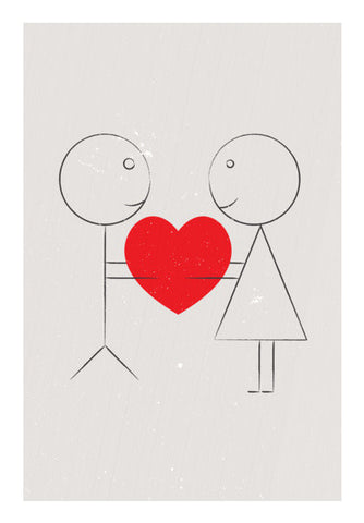 Stick Couple Sharing Heart Art PosterGully Specials