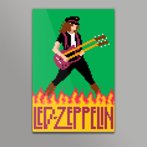 Led Zeppelin Jimmy Page Pixel Art Metal Prints | Artist : 8bitbaba