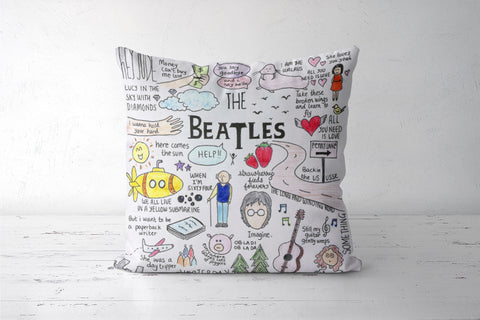 Beatles doodle cushion cover Cushion Covers | Artist : Anjali Nilakantan