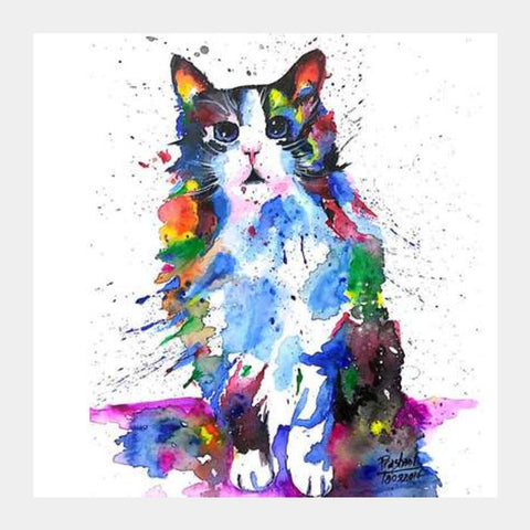Clarity | Artwork | Cat Square Art Prints | Artist : Prashant Singh