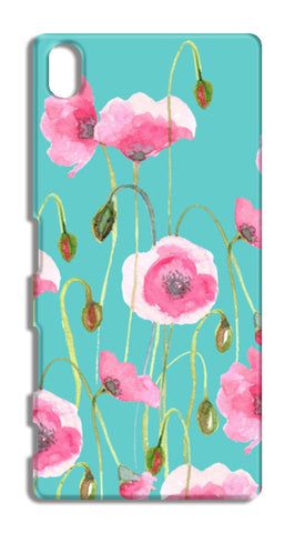 Beautiful Painted Pink Poppy Flowers Mint Floral Design Sony Xperia Z5 Cases | Artist : Seema Hooda