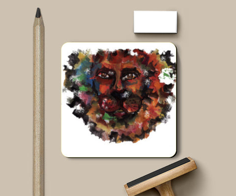 PosterGully Coasters, lion face Coasters | Artist : amit kumar, - PosterGully