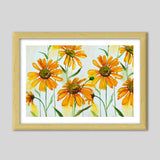 Hand Painted Yellow Spring Flowers Artwork Premium Italian Wooden Frames | Artist : Seema Hooda