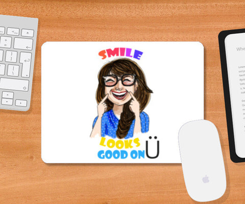 SMILE LOOKS GOOD ON YOU Mousepad | Artist : Paper Pankh