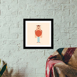 Tall Man Cartoon Premium Square Italian Wooden Frames | Artist : Mani Selvam
