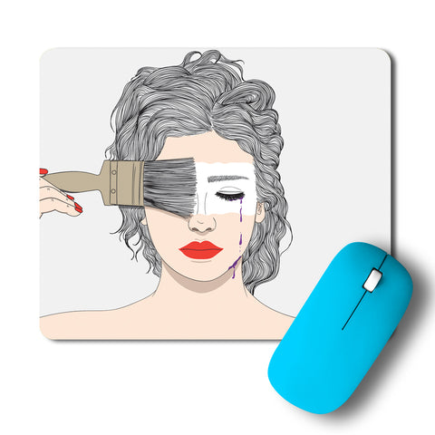 Girl Painting Her Face Mousepad
