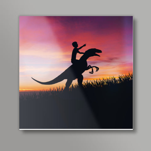 BOY WITH DINO Square Metal Prints | Artist : Ayush Yaduvanshi