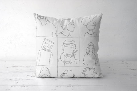 Skrillex Eminem deadmau5 Marshmello Wiz khalifa mija snoop Dogg daftpunk weeknd line art  Cushion Covers | Artist : Raj Patel