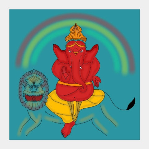 Square Art Prints, Herambha Ganapati Square Art Prints | Pratyasha Nithin, - PosterGully