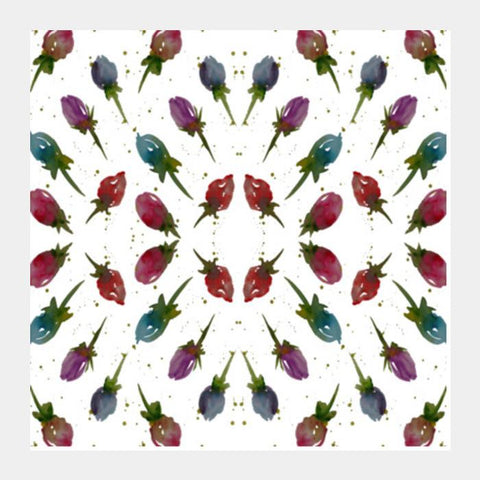 Rose Buds Vintage Floral Mandala Pattern Background Square Art Prints PosterGully Specials