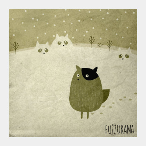 Square Art Prints, Cats And Beaver Square Art | Artist: Alessandro Formigoni, - PosterGully