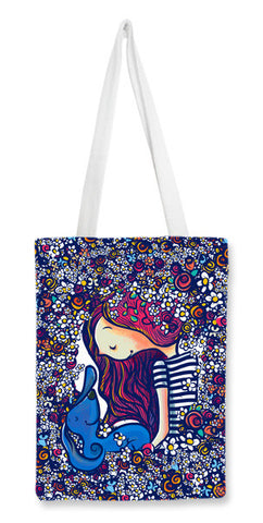 girl and her dog Tote Bags | Artist : abhijeet sinha