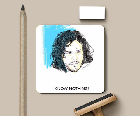 Coasters, Jon Snow Knows Nothing Coaster | Artist: Tridib Das, - PosterGully