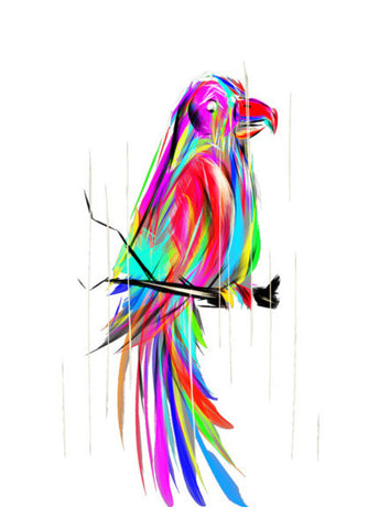 colored parrot Wall Art | Artist : amit kumar