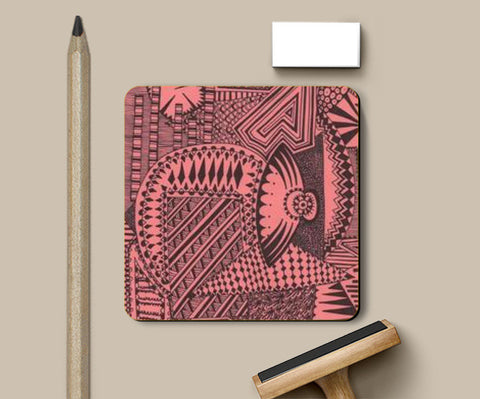 Coasters, Orange and black hand drawn abstract Coasters | Artist : Meanderings, - PosterGully