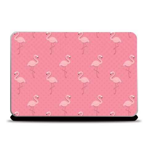 Pink - Dots with Flamingo  Laptop Skins | Artist : Amantrika Saraogi