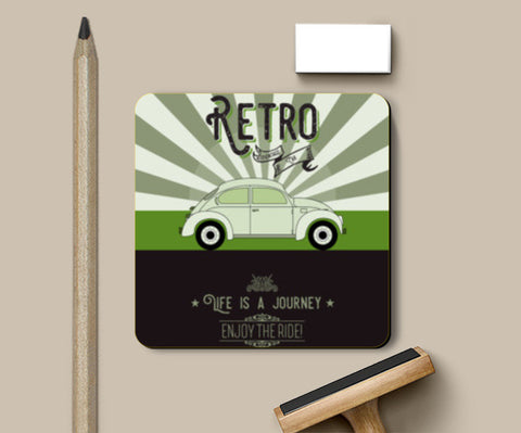 Retro vintage car on green Coasters | Artist : Designerchennai