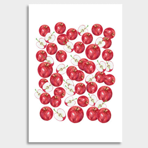 Red Apples Watercolor Fruit Pattern Kitchen Food Art Giant Poster | Artist : Seema Hooda