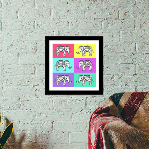 Colourful Elephant Patterns Premium Square Italian Wooden Frames | Artist : Amulya Jayapal