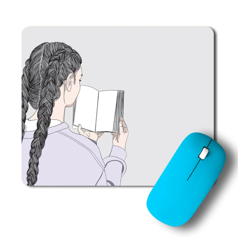 Girl Reading A Book Minimal Artwork Mousepad