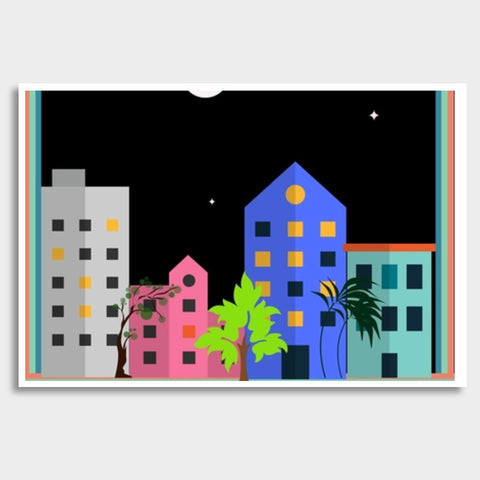 My city in the night Giant Poster | Artist : Pallavi Rawal