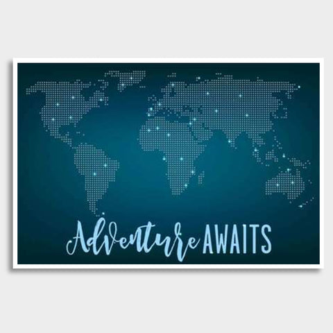 Adventure Awaits World Map Giant Poster | Artist : Inderpreet Singh