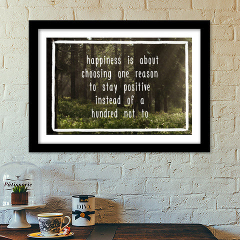 Happiness Motivational Poster Premium Italian Wooden Frames | Artist : Tushar Gupta
