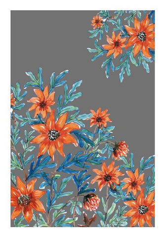 PosterGully Specials, Orange Wildflowers Painting Floral Decor  Wall Art | Artist : Seema Hooda, - PosterGully