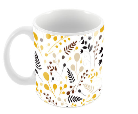 Floral seamless pattern on yellow Coffee Mugs | Artist : Designerchennai