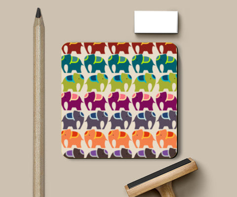 Colourful Elephants Coasters | Artist : Sriparna Chandra