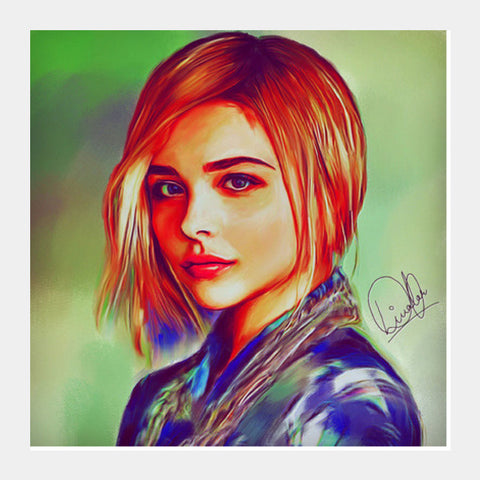 Chloe Grace Moretz Square Art Prints | Artist : Delusion