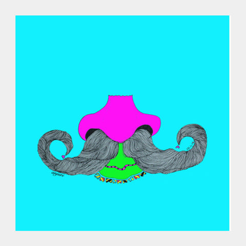 Mooch (on Blue) Square Art Prints PosterGully Specials
