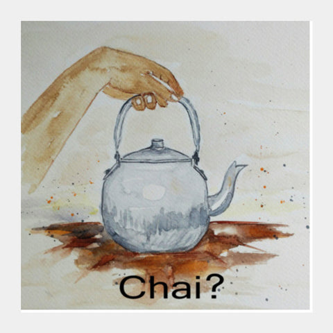 Tea Kettle, Chai Watercolor  Illustration Kitchen Poster Square Art Prints | Artist : Seema Hooda