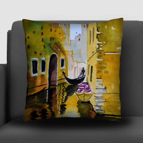 Rowing through the enchanted realms of Venice. Cushion Covers | Artist : Rahul Tanwar