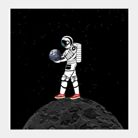 PosterGully Specials, the astronaut Square Art Prints | Artist : Aayush Ranjan, - PosterGully