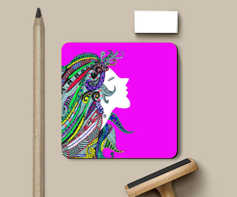 Girl in Song (pink) Coasters | Artist : Anjuri Jain