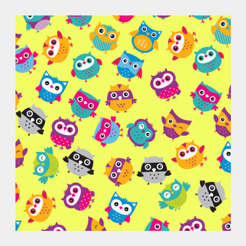 Square Art Prints, Chirpy Owls Square Art Prints | Artist : Pratyusha Subramaniam, - PosterGully