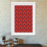 Seamless pattern with leaves on red background Premium Italian Wooden Frames | Artist : Designerchennai