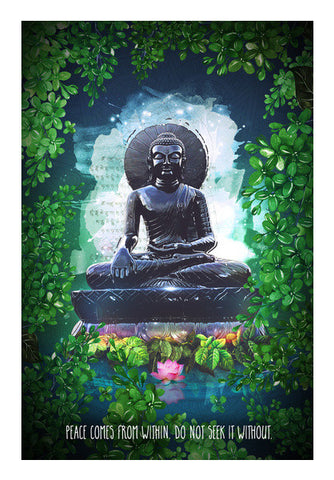 Buddha peace comes from within Wall Art | Artist : Cuboidesign